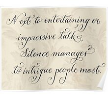 Motivational quote Silence handwritten calligraphy art  Poster