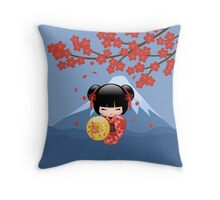 Japanese Red Sakura Kokeshi Doll Throw Pillow