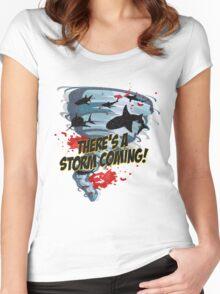 Shark Tornado - Shark Cult Movie - Shark Attack - Shark Tornado Horror Movie Parody - Storm's Coming! Women's Fitted Scoop T-Shirt