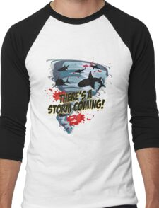 Shark Tornado - Shark Cult Movie - Shark Attack - Shark Tornado Horror Movie Parody - Storm's Coming! Men's Baseball ¾ T-Shirt
