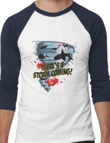 Shark Tornado - Shark Cult Movie - Shark Attack - Shark Tornado Horror Movie Parody - Storm's Coming! Men's Baseball ¾ T-Shirt