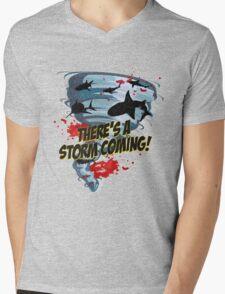 Shark Tornado - Shark Cult Movie - Shark Attack - Shark Tornado Horror Movie Parody - Storm's Coming! Mens V-Neck T-Shirt