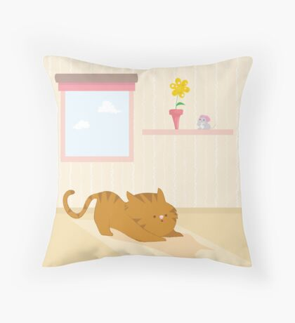 Playful cat Throw Pillow