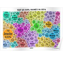 Top US Girl Names in 1974 - White Poster