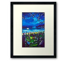 Drummers and firetwirlers- Terrigal Beach Framed Print