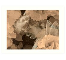 Fairy and Echoed/Ghosted Roses in Sepia – February 11, 2010 Art Print