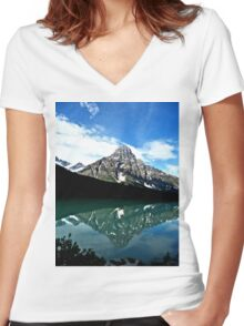 Mountain Reflections Women's Fitted V-Neck T-Shirt