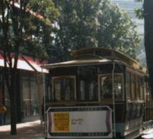 Cable Car On Sunny Tree Lined Street in S.F Sticker
