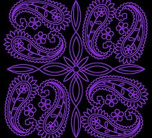Black and Purple Floral Paisley Pattern by HavenDesign