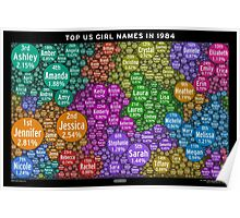 Top US Girl Names in 1984 - Black Poster