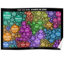 Top US Girl Names in 1985 - Black Poster