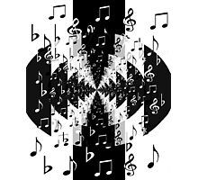 Black and White Echo Music Notes Pattern Photographic Print