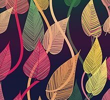 Colorful Vines Autumn Leaves Pattern by HavenDesign