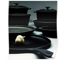 Garlic and kitchenware Poster