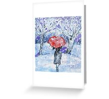 Winter snow umbrella walk Greeting Card