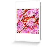 Vintage painting pink white flowers pattern  Greeting Card