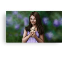 A Cute Girl with a Puppy Canvas Print
