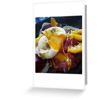Poached egg on bresaola and orange supremes Greeting Card