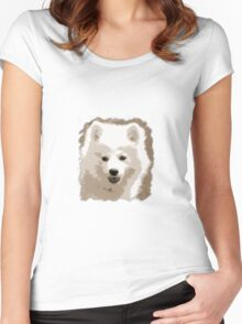 Japanese Spitz close up Women's Fitted Scoop T-Shirt