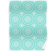 Turquoise & Cream Kaleidoscope Flowers Design Poster