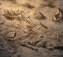 Snow -Experiment in relief on canvas by Yianni Digaletos
