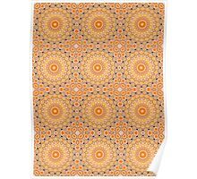 Gold, Orange & Brown Kaleidoscope Flowers Poster