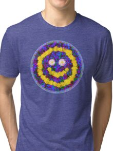 Happy Smiley Face Bright Dandelion Flowers  Tri-blend T-Shirt