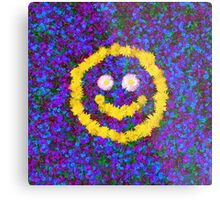 Happy Smiley Face Bright Dandelion Flowers  Metal Print