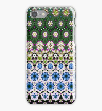Abstract ethnic floral stripe pattern white blue green iPhone Case/Skin