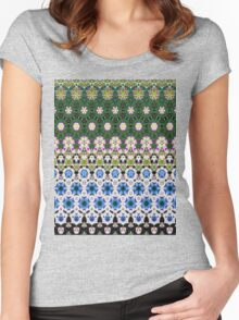 Abstract ethnic floral stripe pattern white blue green Women's Fitted Scoop T-Shirt