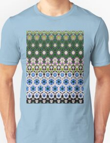 Abstract ethnic floral stripe pattern white blue green Unisex T-Shirt