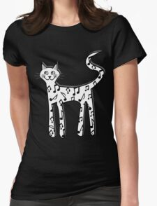 Musical note cat Womens Fitted T-Shirt