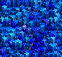 Blue stacked 3D cubes abstract geometric pattern by Katho Menden