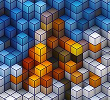 Yellow and blue geometric cubes pattern by Katho Menden