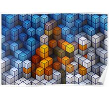 Yellow and blue geometric cubes pattern Poster