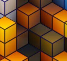 Yellow and blue geometric cubes pattern Sticker