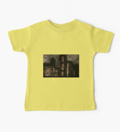 Charcoal, ink, acrylic and shellac ominous buildings painting! Baby Tee