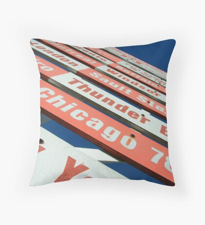 signs pointing in all directions Throw Pillow