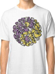 Yin Yang Mushrooms (purple-yellow version) Classic T-Shirt
