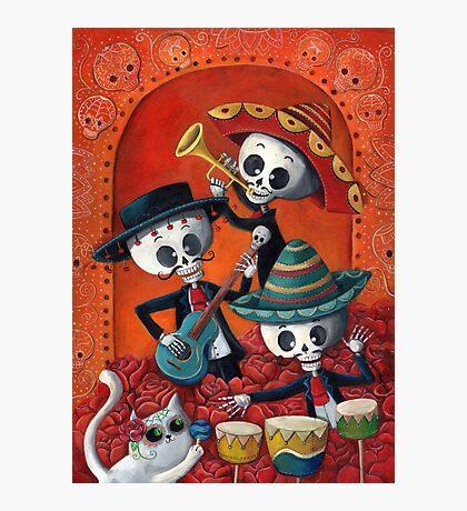 Dia de Los Muertos Skeleton Musicans Photographic Print