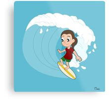 Surfing girl cartoon Metal Print