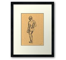 woman on a yellow paper Framed Print