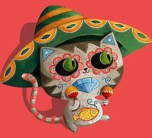 Mexican Dia de Los Muertos Cat by colonelle