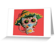 Mexican Dia de Los Muertos Cat Greeting Card