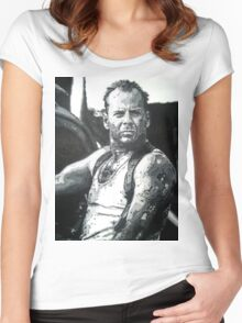 Bruce willis in die hard iconic piece Women's Fitted Scoop T-Shirt