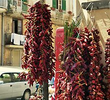 Calabria: Drying Pepperonies at Tropea by Friederike Alexander