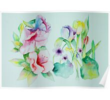 Azaleas Violets and Tulips Poster