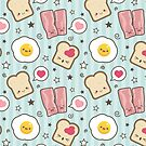 Kawaii Bacon & Egg Sandwich by Lisa Marie Robinson