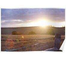 Sunset thorugh farm fence bokeh Poster