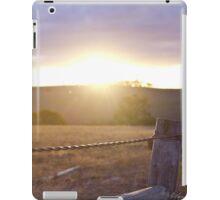 Sunset thorugh farm fence bokeh iPad Case/Skin